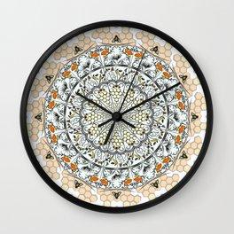 Overlapping Bee Mandala (Color) Wall Clock