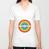pokeball V-neck T-shirts featuring Rainbow Pokeball by Hi 5 Graphics