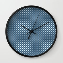 Off White Angled Polka Dot Grid Line Pattern on Blue - 2020 Color of the Year Chinese Porcelain Wall Clock