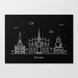 Phuket Minimal Nightscape / Skyline Drawing Canvas Print