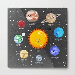 Solar system Kawaii style Metal Print