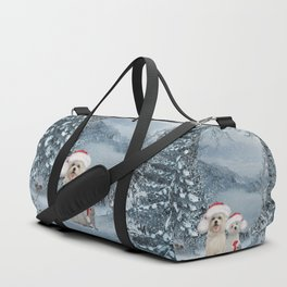 Christmas time, cute dogs and squirrel with christmas hat Duffle Bag