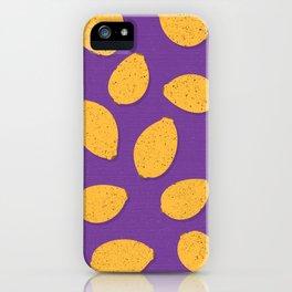 Lemon Design - Fruit, Purple and Yellow, Pattern iPhone Case