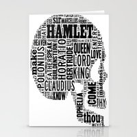 hamlet Stationery Cards featuring Shakespeare's Hamlet Skull by MollyW
