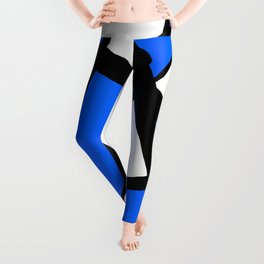 China Blue Geometric Triangle Abstract Inverse Leggings