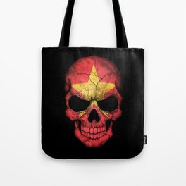 Dark Skull with Flag of Vietnam Tote Bag