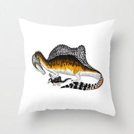Spinosaurus mother and juvenile Throw Pillow
