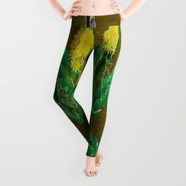 Antique Style Grundy Avocado Color Dandelion Print Art Leggings