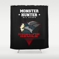 monster hunter Shower Curtains featuring Monster Hunter All Stars - Howling Devils by Bleached ink