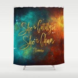 She is catalyst. She is Chaos. Illuminae Shower Curtain