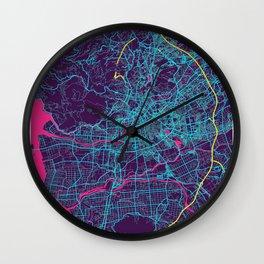 Kumamoto Neon City Map, Kumamoto Minimalist City Map Art Print Wall Clock