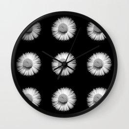 Fleabane B and W Wall Clock