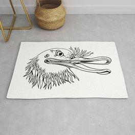 Angry Kiwi Bird Head Cartoon Black and White Rug