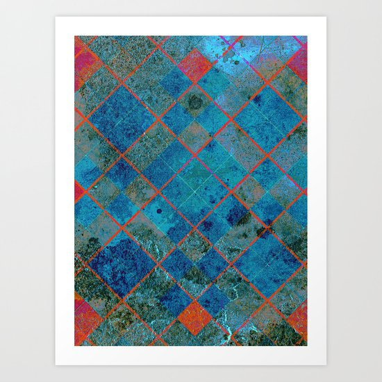 Old Tile - blue and pink Art Print