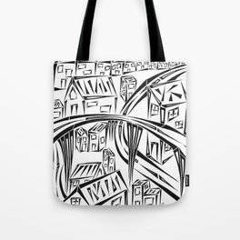 Town Circled By Roads Tote Bag