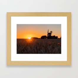 North German windmill from old time in the sunset Framed Art Print