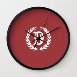 Rustic Red Monogram: Letter D Wall Clock