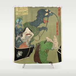 The Greedy Old Woman with a Box of Demons Shower Curtain