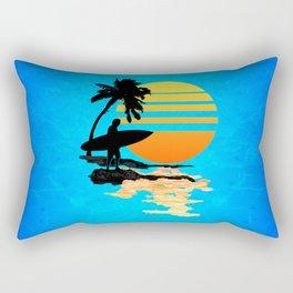 Surfing Sunrise Rectangular Pillow