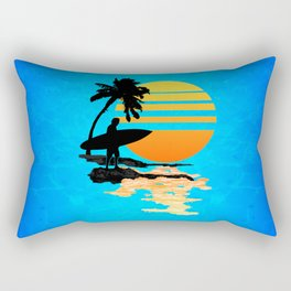 Surfing Sunrise Rectangular Pillow