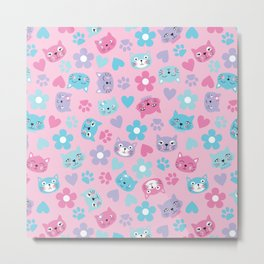 Kitty Cat Pattern by Everett Co Metal Print