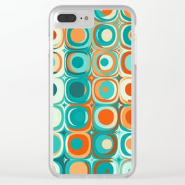 Orange and Turquoise Dots Clear iPhone Case