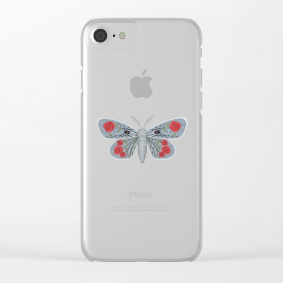 spider web and rose (made up moth) Clear iPhone Case