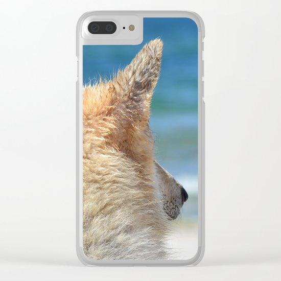Dog at the beach Clear iPhone Case