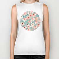 chic Biker Tanks featuring Shabby Chic Hibiscus Patchwork Pattern in Peach & Mint by micklyn