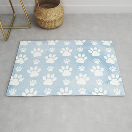 Dog Paws, Traces, Animal Paws, Watercolors - Blue Rug