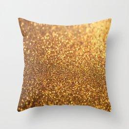 Golden Glitter Shiny Throw Pillow