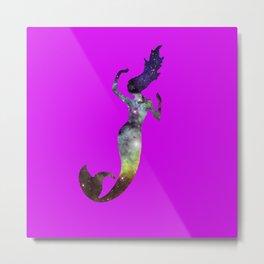 Galaxy Mermaid (Fuscia) Metal Print