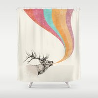 elk Shower Curtains featuring Elk Song by Zeke Tucker