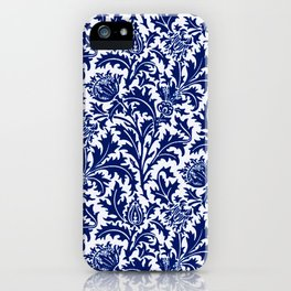 William Morris Thistle Damask, Cobalt Blue & White iPhone Case
