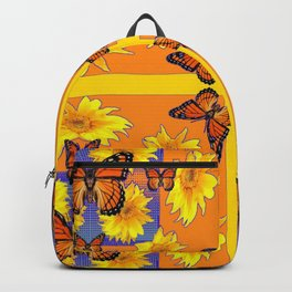 ORANGE MONARCH BUTTERFLIES & YELLOW SUNFLOWERS Backpack