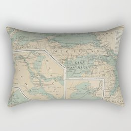 Vintage Great Lakes Lighthouse Map (1898) Rectangular Pillow