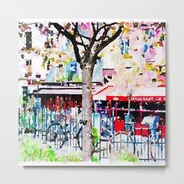 Little Paris Cafe Watercolor Metal Print