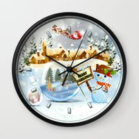 merry christmas Wall Clocks featuring Merry Christmas by Looly Elzayat