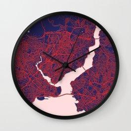 Istanbul, Turkey, Blue, White, City, Map Wall Clock