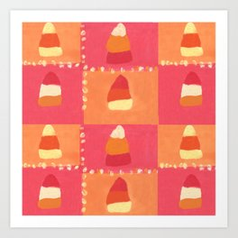 Pink and Orange Candy Corn Textile Print Art Print