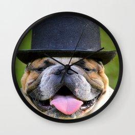 Silly Bulldog In Top Hat Wall Clock