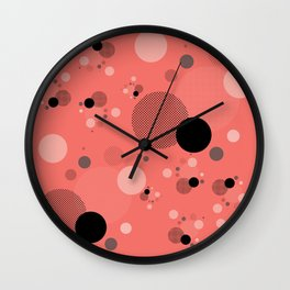 Coral Dots Wall Clock
