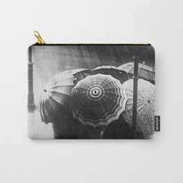 Friends in the Rain with Umbrellas black and white photography Carry-All Pouch