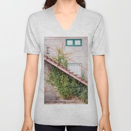 Stone House with Ivy Wall Unisex V-Neck