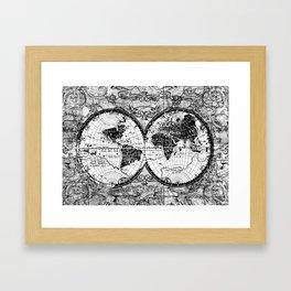 world map black and white Framed Art Print