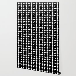 Midcentury Modern Dots Black and White Wallpaper
