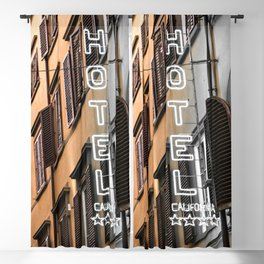 Hotel California // A Modern Artsy Style Graphic Photography of Neon Sign in Europe on Buildings Blackout Curtain