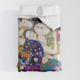 The Virgin Maidens, anemones and lilies floral portray by Gustav Klimt Comforters