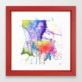 Louisiana Abstract Map Framed Art Print