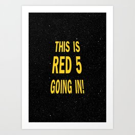 Star Wars Crawl Saga - red 5 Art Print